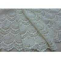 Wholesale Vintage French Crocheted Cotton Lace Fabric Scalloped Edge Hollow Out Ivory Dots from china suppliers