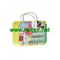 Wholesale gift tin suitcase tin box with handle for wedding to pack chocolate or candy from china suppliers