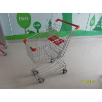 Wholesale 60L Normal Wire Shopping Trolley with red plastic parts TUV CE SGS Metal Shopping Trolley from china suppliers