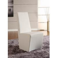 Wholesale Simple Shape White Faux Leather Dining Chairs Stainless Steel Base from china suppliers