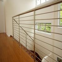 Buy cheap Stainless steel stair balustrade with wooden handrail solid rod design from wholesalers