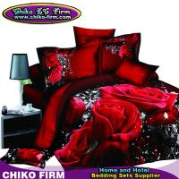 Wholesale Pure Cotton Red Rose Reactive 3D Printed Queen King Bedding Sets from china suppliers