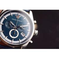 Wholesale Armani Watch AR1652 EMPORIO ARMANI WAGIANNI MENS BLUE LEATHER CHRONOGRAPH WATCH CODE:AR165 from china suppliers