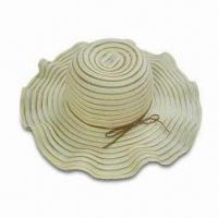 Wholesale Ladies Sunhat with Wavy Edge, Made of Polyester Woven Tape from china suppliers