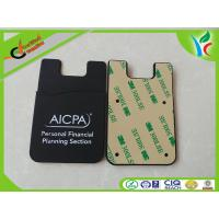 Wholesale 1C Printed Logo Silicone Card Holder Eco-friendly Durable Black from china suppliers
