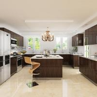 Wholesale 18mm Mdf Carcass Laminate Kitchen Cabinets Visible Handle Luxury European Style from china suppliers