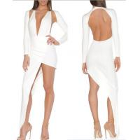 Wholesale Sexy White Backless Bandage Dress Long Sleeve Club Europen Style from china suppliers