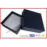 Quality Glossy Dark Blue Leather paper gift box with hi density FOAM protecting for sale