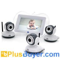 Wholesale Digital Wireless Baby Monitor with 3 Cameras (7 Inch Screen, 1/4 CMOS, Night Vision, 100m) from china suppliers