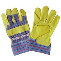 Wholesale Yellow durable and soft Garden Gloves with stripe cotton back for men PVC102 from china suppliers