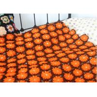 Wholesale Cotton Handmade Crochet Blankets Overlocking Edge / Orange Crochet Baby Boy Blankets from china suppliers