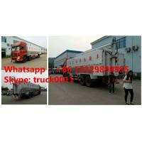 China Dongfeng 8*4 40m3 hydraulic discharging poultry feed truck for sale, factory sale best price 20tons animal feed truck on sale