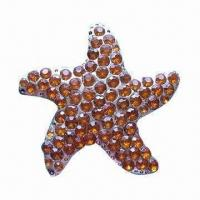 Wholesale Rhinestone Metal Brooch, Can be Used for Weddings, Parties, Gifts, OEM Orders Accepted from china suppliers