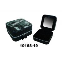Wholesale Small Zippered Round Coner Modern Jewelry Case Leather Ring Box With Mirror from china suppliers