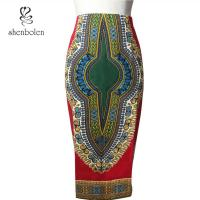 Wholesale Tall Waist Fashion african shirt dress Female Batik Dress Sewn With Invisible Zipper from china suppliers
