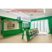 Wholesale Health drugs Store Display Furniture for Interior Design by Green color Wood  Cabinet and Tempered Glass Shelves from china suppliers