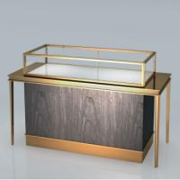 Wholesale High end good quality Stainless steel Jewelry showcase Display stand Wooden cabinet Golden shop retail fixture from china suppliers