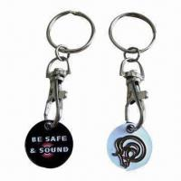 Wholesale Trolley Coin Keychain for Replacing Real Coins in Supermarkets, Customized Colors are Welcome from china suppliers