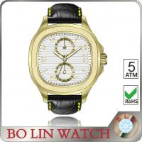 Wholesale Gold Case & Dial Black Leather Band Watches , Japanese Movt Mens Square Leather Watches from china suppliers
