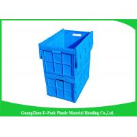 Wholesale Blue Collapsible Plastic Containers with Attached Lids / Stackable plastic container from china suppliers