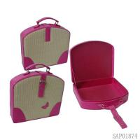 Wholesale Custom Carriable Cosmetic Jewelry Travel Case Pink Handle PU Wrapping from china suppliers
