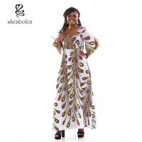 Quality Peacock Flower Fashionable African Print Dresses Ankara Print In The Sleeves for sale