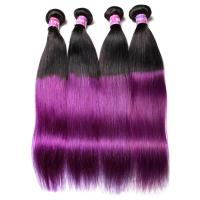 Quality Peruvian Straight Hair 7A Ombre Human Hair Extensions 1B / Purple Color for sale