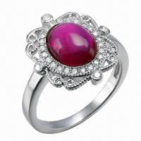 Wholesale Ruby Silver Ring, Customized Designs, OEM and ODM Orders Welcomed from china suppliers