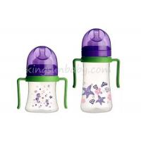 Wholesale Wide Neck PP Baby Nursing Bottles with Handle and Feeding Nipple BPA Free from china suppliers