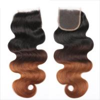 Wholesale Three Tone Virgin 4x4 Hair Closure , Hand Tied 4x4 Free Part Closure from china suppliers