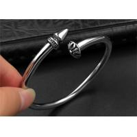 Wholesale Punk Womens Black Open Bangle Bracelet With Customized Logo , CE Certisficated from china suppliers