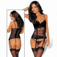 Wholesale Lingerie Corset Costumes, Includes G-string and Gloves, Lace Up Design from china suppliers