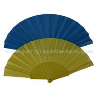 Quality Handmade Single Color  Printed Fabric Hand Fan , White Hand Fans Wedding for sale