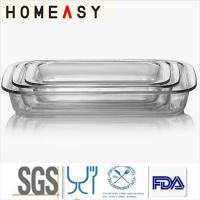 Wholesale 1800ml / 1000ml Borosilicate Pyrex Rectangular Baking Dish 3 In 1 Set from china suppliers
