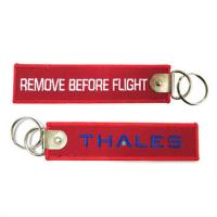 Wholesale Remove Before Flight Thales Custom Logo Embroidery Fabric Keychain Accept Any Color and Si from china suppliers