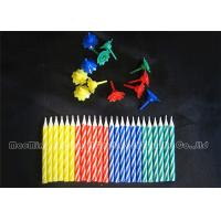 Wholesale 6cm Showy Colorful Birthday Candles Yellow / Green / Blue / Red Mix 4 Colors Holders from china suppliers