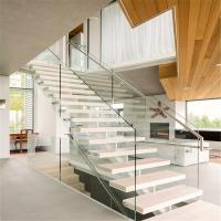 Wholesale Best stairs design for home with 2 sides of steel stringer from china suppliers