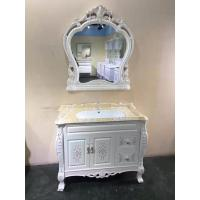 Quality Antique Classical Soft Close Door PVC Bathroom Vanity With Ceramic Basin for sale