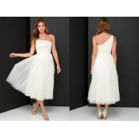 Wholesale Latest Dress Design Glamour Girl Cream Beaded One Shoulder Prom Formal Dress from china suppliers