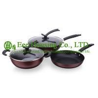 Wholesale 3 pieces stainless steel cooking cookware including fry pan and soup pot and milK pot from china suppliers