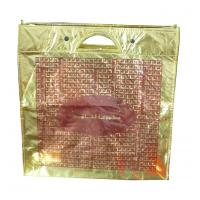 Quality Eco friendly golden lamination non woven carry bag with metal handle for sale