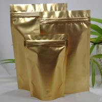 China 8 Cm X 13cm Double Face Gold Aluminum Foil Stand Up Zip Lock Pouch Packaging on sale