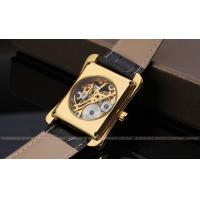 Winner mechanical Mens Wrist Watches leather band gold color Stainless steel