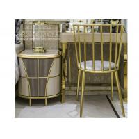 Buy cheap Modern Hotel Bedroom Furniture , Stainless Steel Study Table With Chair Golden Color from wholesalers