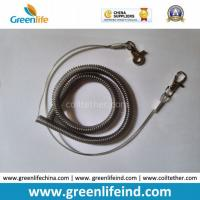 Wholesale Gray Stainless Wire Reinforced Coil Lanyard W/Quick Release Buckles from china suppliers