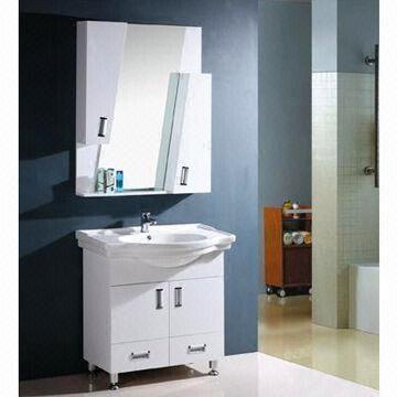 White Free Standing Modern Mirrored Bathroom Cabinet