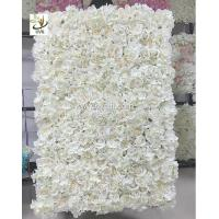 Wholesale UVG 5ft white artificial flower wall with silk hydrangea and rose for wedding decoration CHR1101 from china suppliers