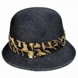 China Fashionable Black Sinamay Bucket Hat with Pleated Band on sale