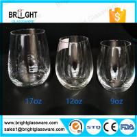 Wholesale glass cups manufacturers 9OZ 12OZ 16OZ blown stemless wine glass from china suppliers