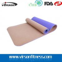 Wholesale Ningbo virson New design hot selling CORK TPE yoga mat customized from china suppliers
